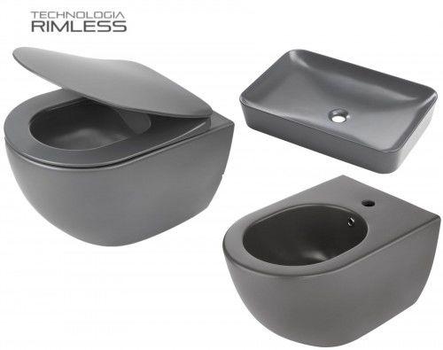 ZESTAW: Miska WC 51x36x35,5 cm RIMLESS+deska wolnoopadająca SLIM+bidet+umywalka, Antracyt