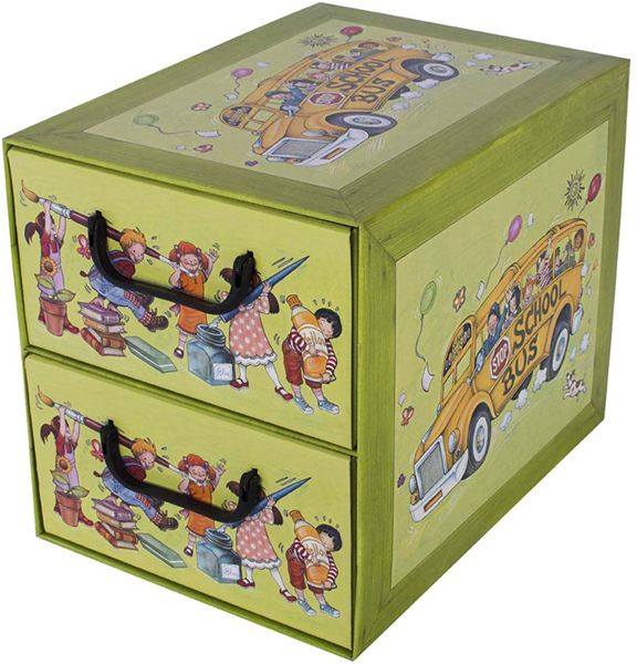 Pudełko kartonowe 2 szuflady pionowe SZKOŁA DZIECI