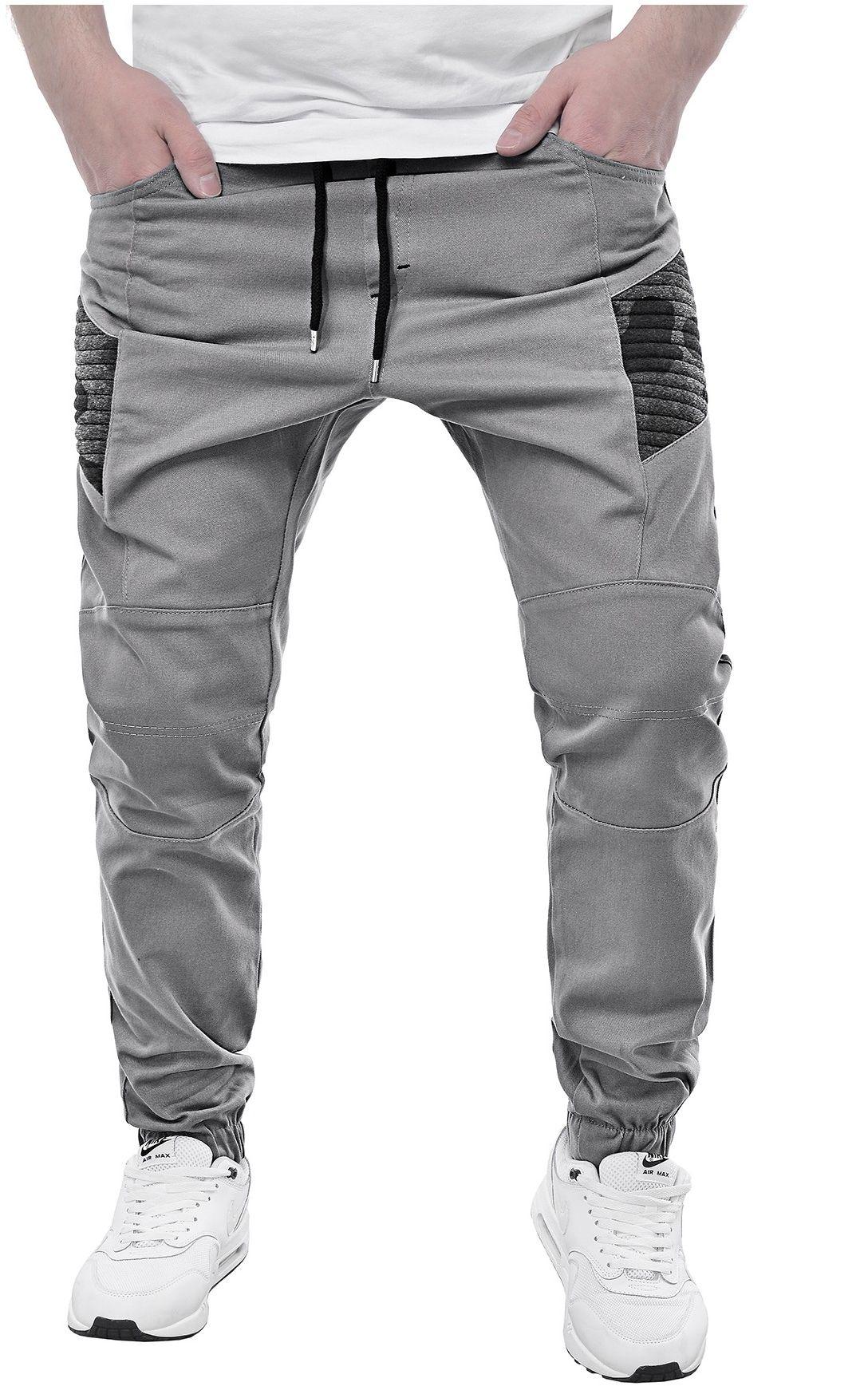 Spodnie męskie joggery 900a - szare
