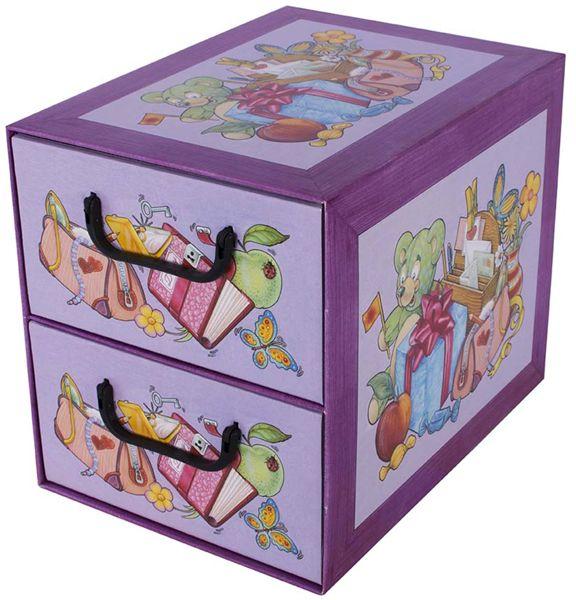 Pudełko kartonowe 2 szuflady pionowe SZKOŁA PRZYBORY