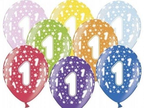 """Balon 14"""" cyfra 1, mix metalicznych kolorów"""