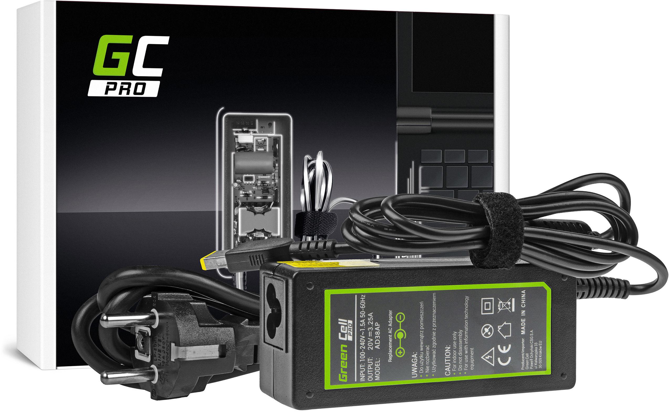 Zasilacz Ładowarka Green Cell PRO 20V 3.25A 65W do Lenovo B50 G50 G50-30 G50-45 G50-70 G50-80 G500 G500s G505 G700 G710 Z50-70