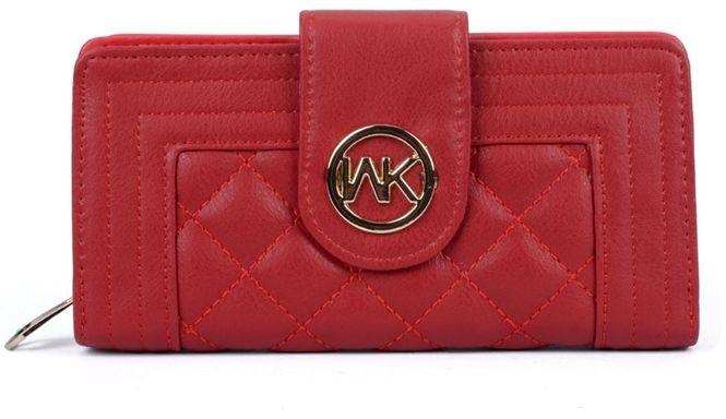 Czerwony portfel damski pikowany AMIE W03