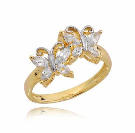 Złoty pierścionek motyle