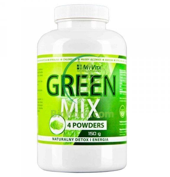 Green Mix 4W1 Spirulina Chlorella Młody Jęczmień Matcha MYVITA