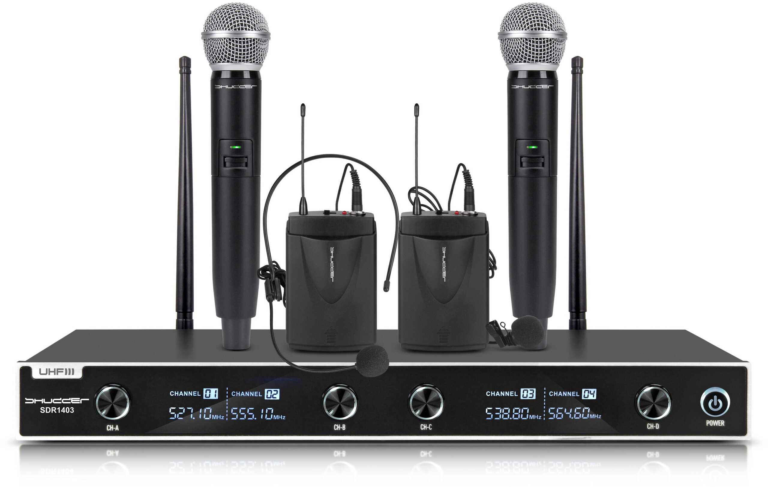 Mikrofony bezprzewodowe Shudder UHF 2głowa+2ręka