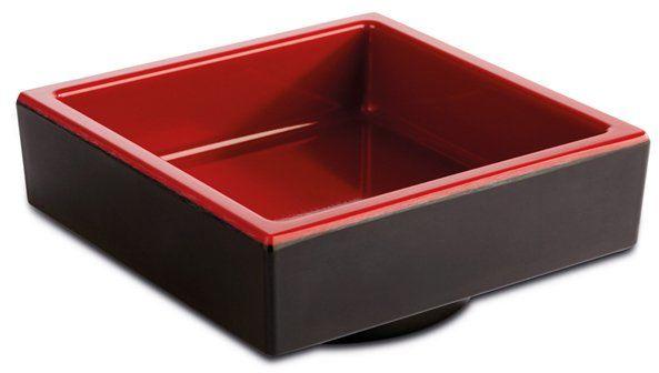 Pojemnik kwadratowy z melaminy czarno-czerwony różne wymiary