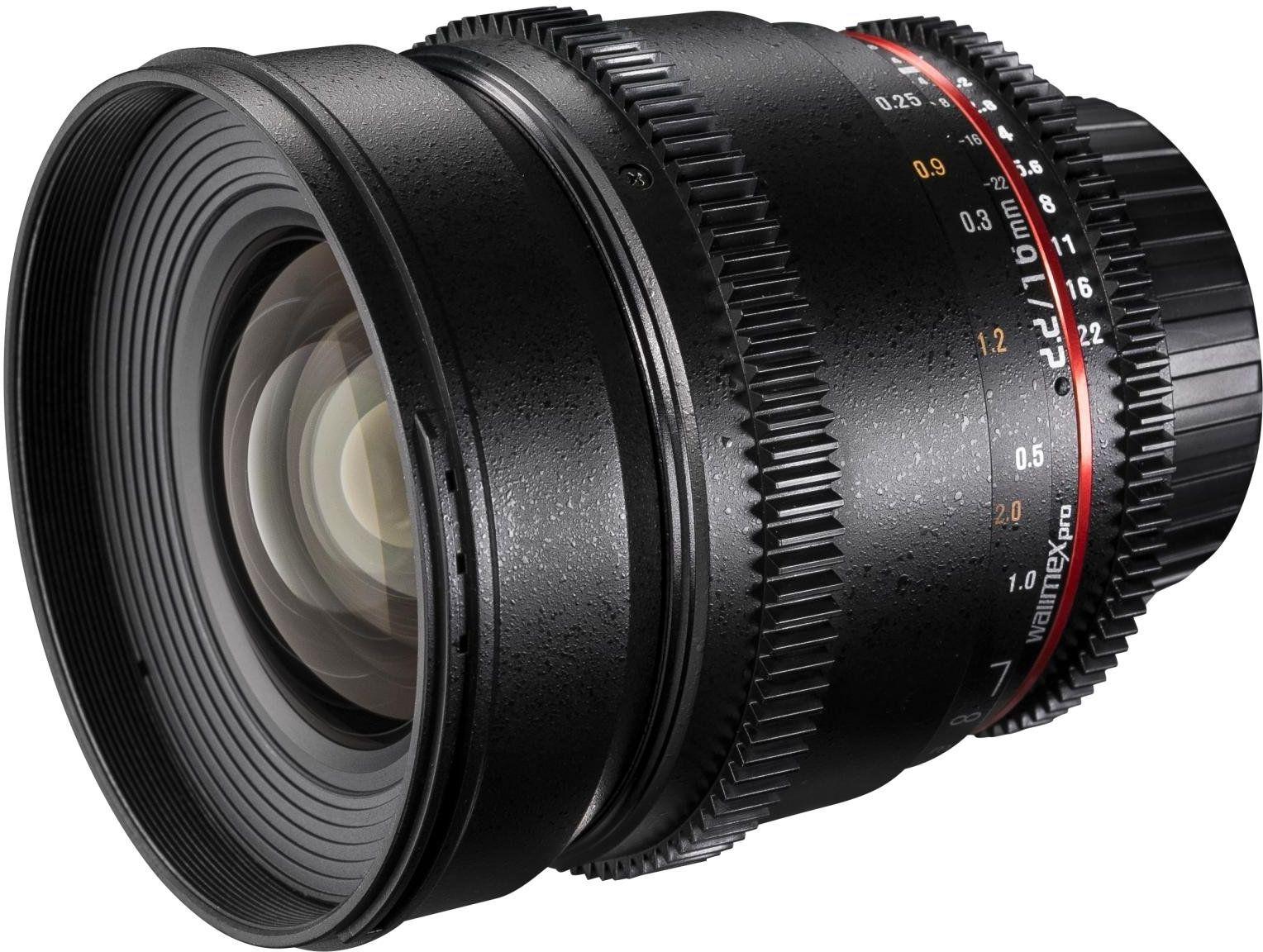 Walimex Pro 16 mm 1:2,2 VDSLR obiektyw szerokokątny do obiektywu Nikon F, czarny (ręczna regulacja ostrości, dla czujnika APS-C, IF, z osłoną ochronną i workiem na obiektyw)