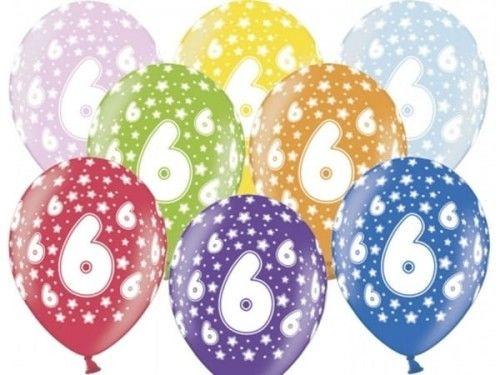 Balon 14 '' cyfra 6, mix metalicznych kolorów