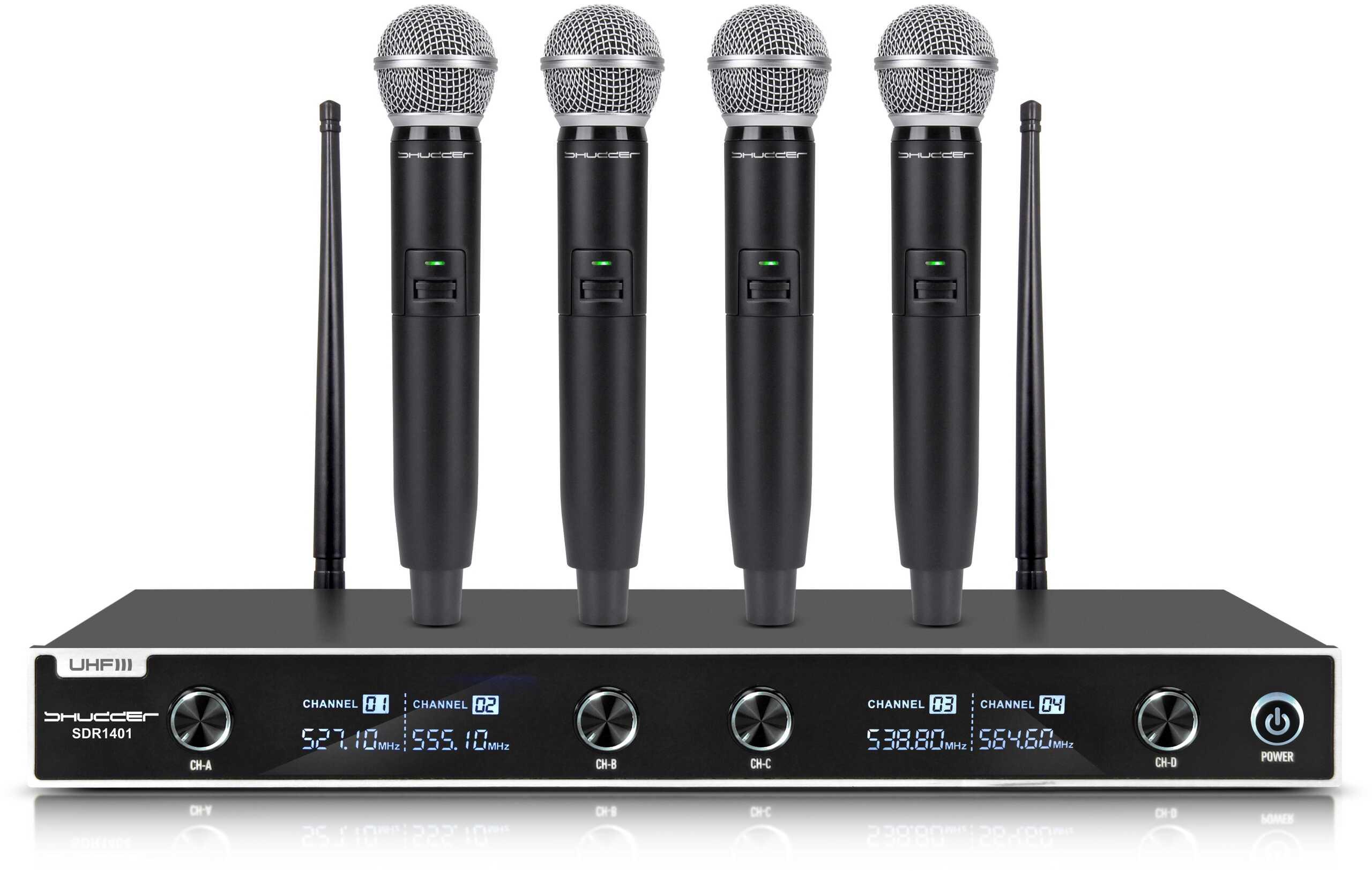 Mikrofony bezprzewodowe Shudder UHF 4 mikrofony