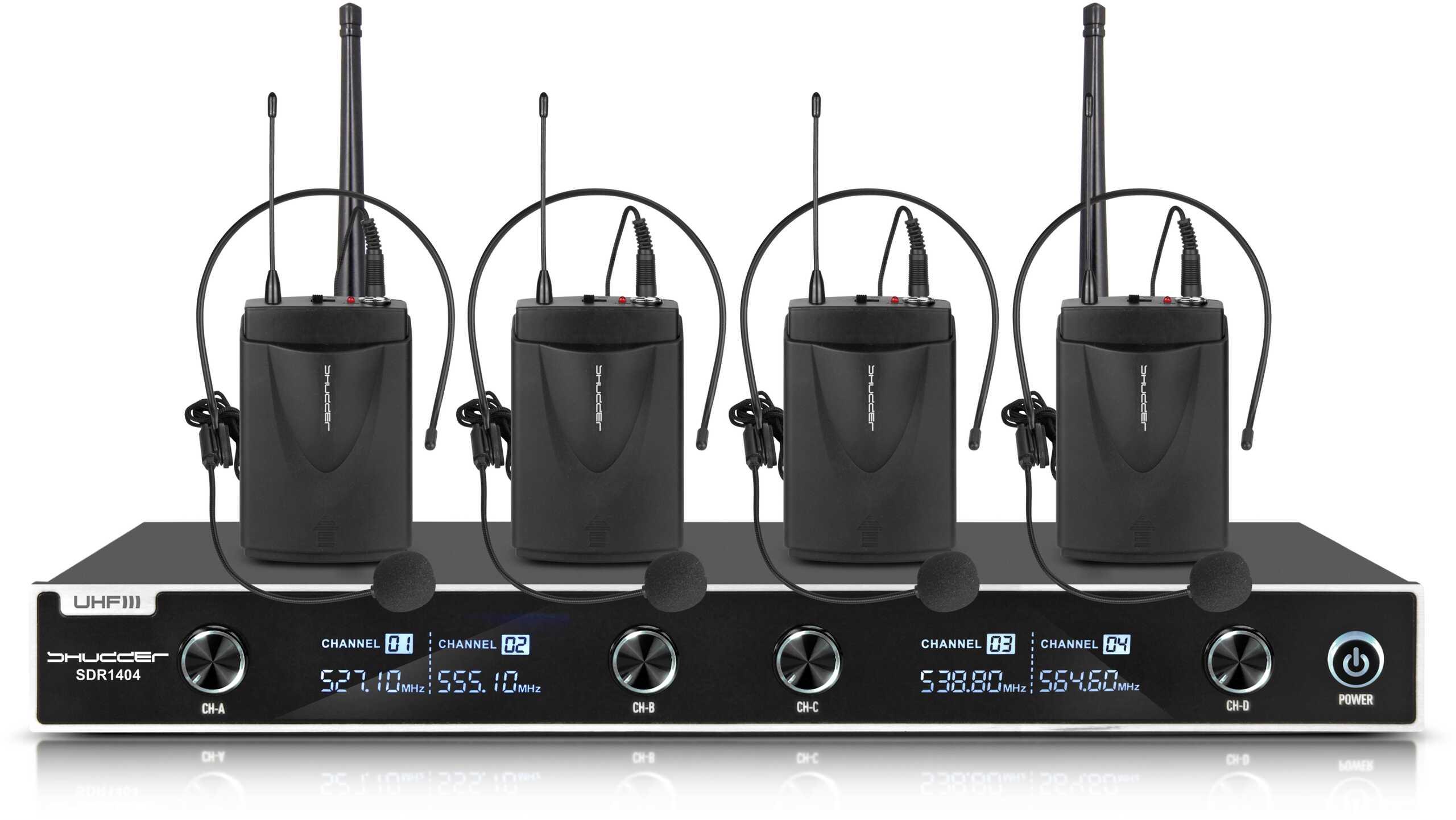 Mikrofony bezprzewodowe Shudder 4 nagłowne + klips