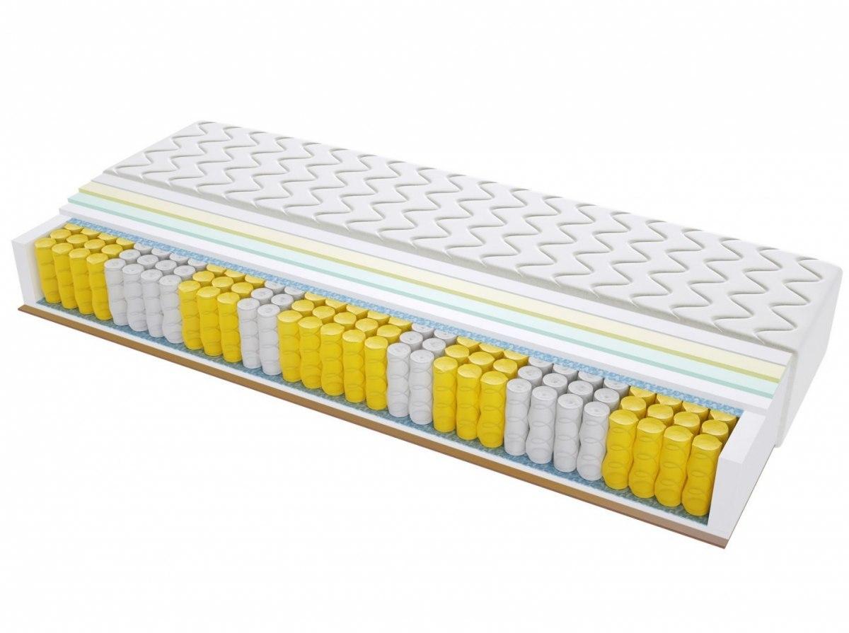 Materac kieszeniowy PORTO MAX PLUS 200x220 cm Średnio / Twardy Lateks Kokos Visco Memory