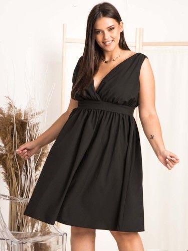 Sukienka wieczorowa rozkloszowana z efektownym dekoltem MERLIN czarna