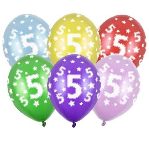 Balon 14'' cyfra 5 mix metalicznych kolorów