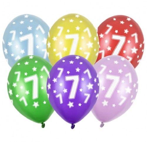 Balon 14 '' cyfra 7, mix metalicznych kolorów