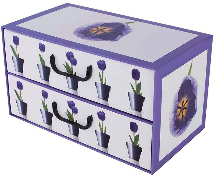 Pudełko kartonowe 2 szuflady poziome DONICZKI TULIPANY