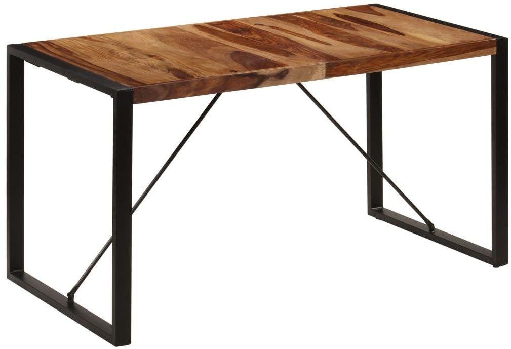 Brązowy stół z drewna sheesham 70x140  Veriz 3X
