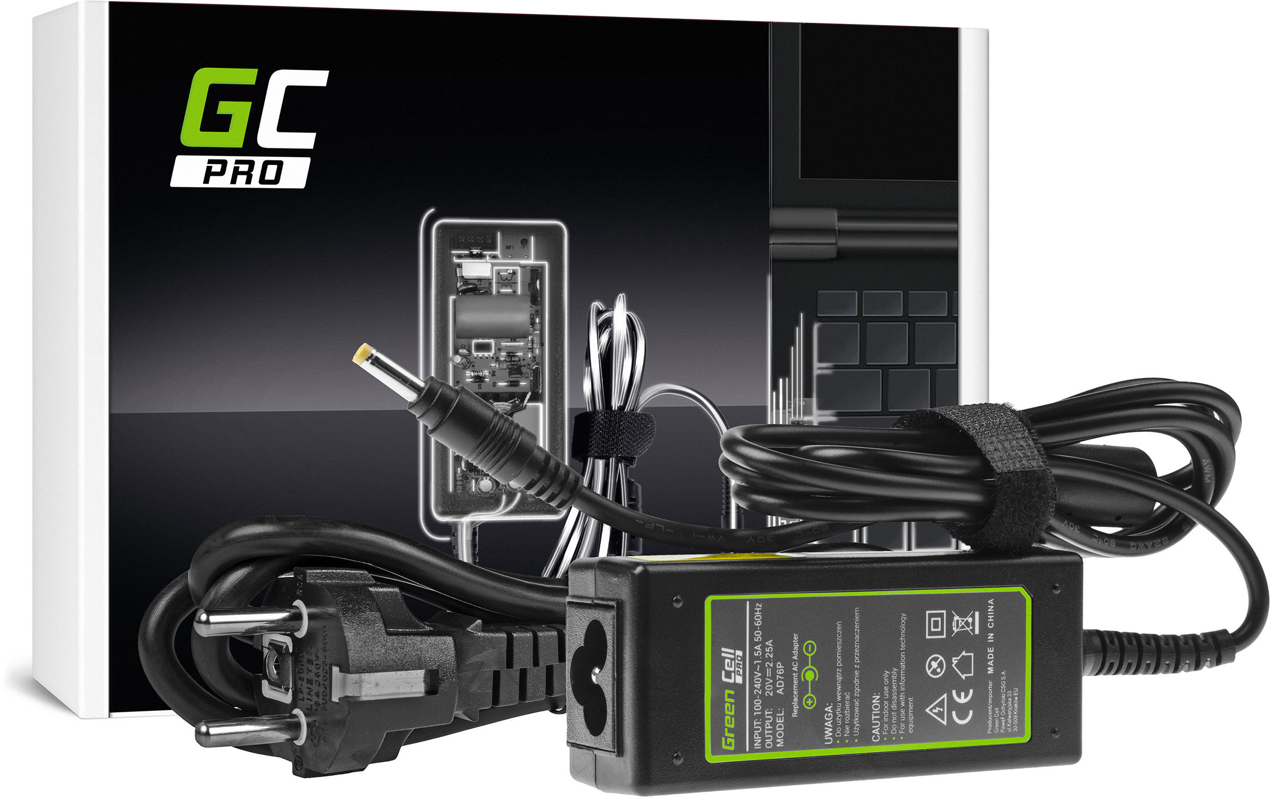 Zasilacz Ładowarka Green Cell PRO 20V 2.25A 45W do Lenovo IdeaPad 100 100-15IBD 100-15IBY 100s-14IBR 110 110-15IBR Yoga 510 520