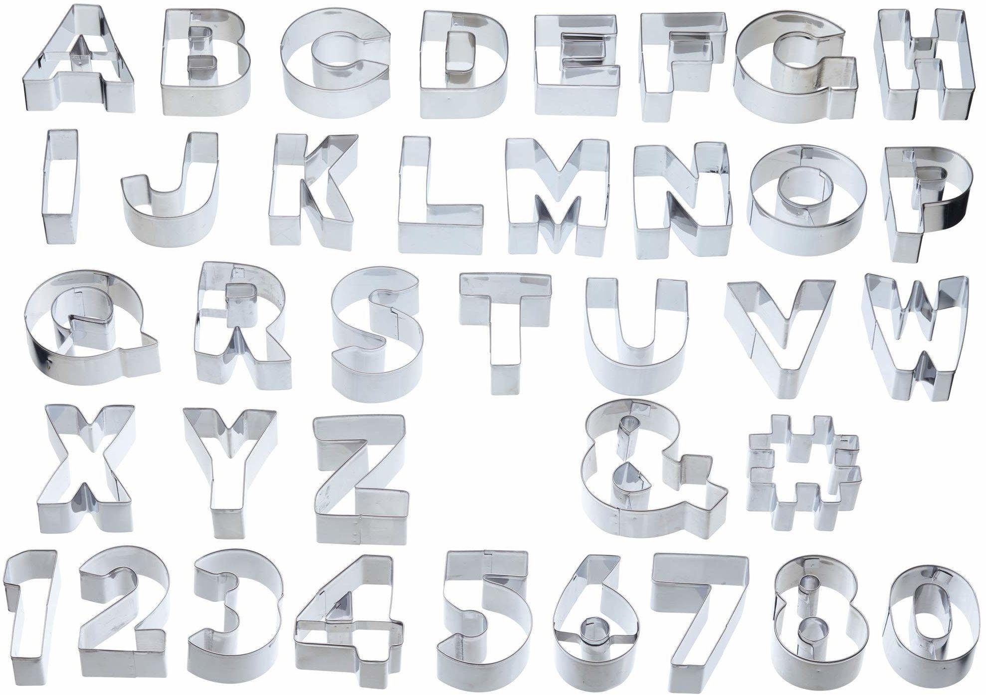 KitchenCraft Sweetly Does It alfabet foremki do ciastek zestaw z torbą do przechowywania, w pudełku upominkowym, metal (zestaw 34 dużych szablonów liczb i liter)