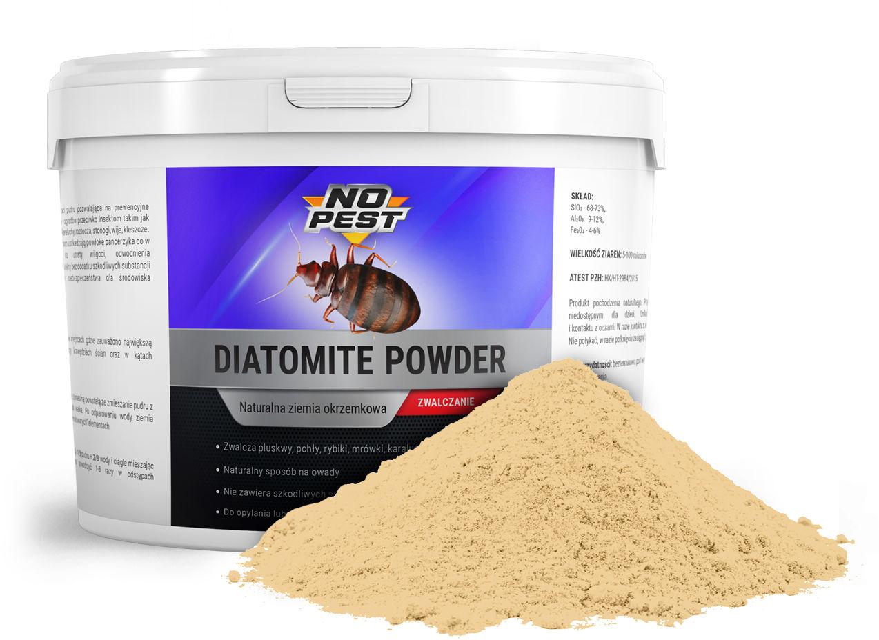 Ziemia okrzemkowa na pluskwy, rybiki, karaluchy, mrówki Diatomite Powder NO PEST 500g.