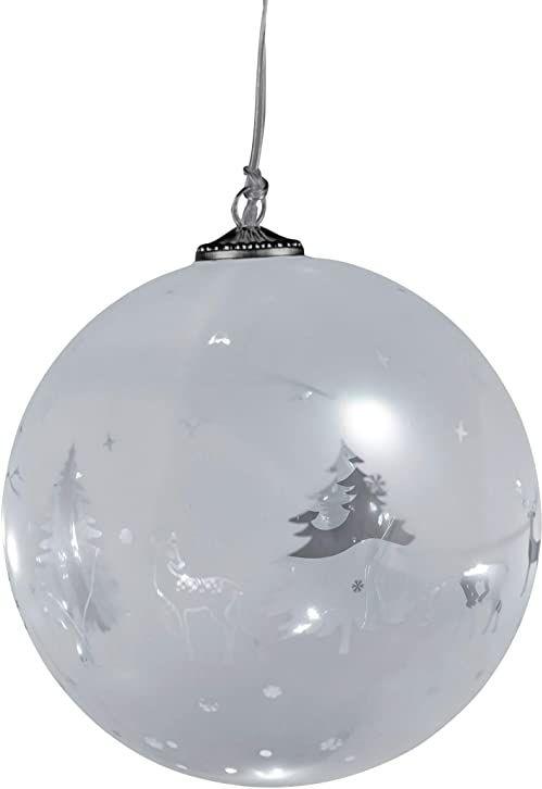 dekojohnson Bombka choinkowa LED, szklana kula na choinkę, z funkcją timera, dekoracja bożonarodzeniowa, dekoracja okienna, podświetlana LED, kolor biały, Ø 15 cm