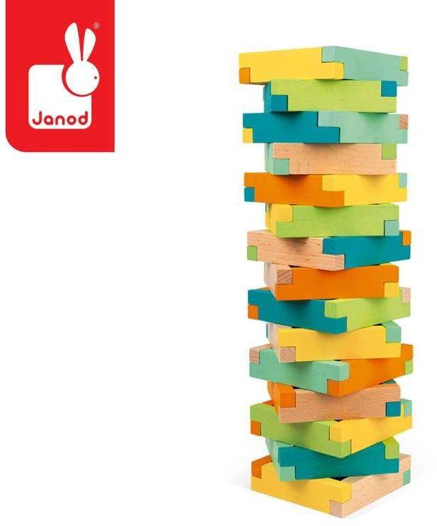 Drewniane klocki konstrukcyjne 60 elementów 4+ J08300-Janod, zabawki drewniane