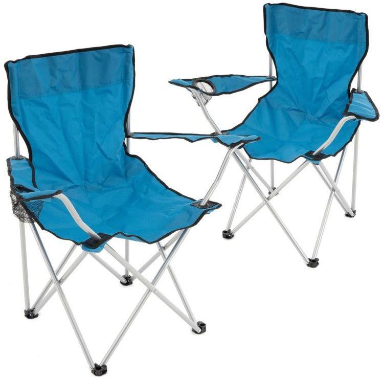 Zestaw 2 składanych krzeseł - niebieski
