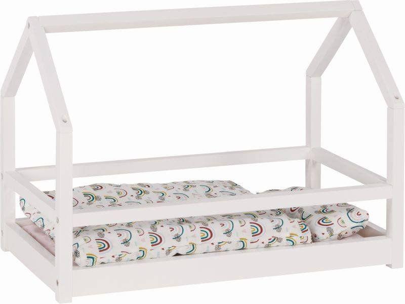 Łóżko dla lalek z drewna skandynawski domek 51520-Goki, mebelki dla lalek