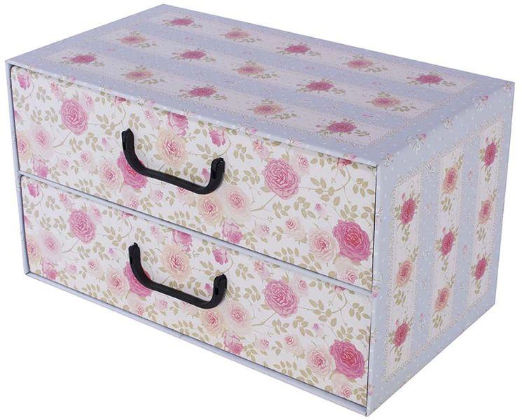 Pudełko kartonowe 2 szuflady poziome PROWANSALSKIE BŁĘKITNE