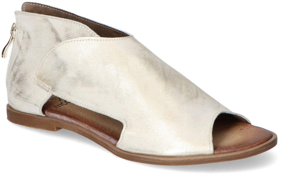 Stylowe Sandały Złote Przecierane Licowe