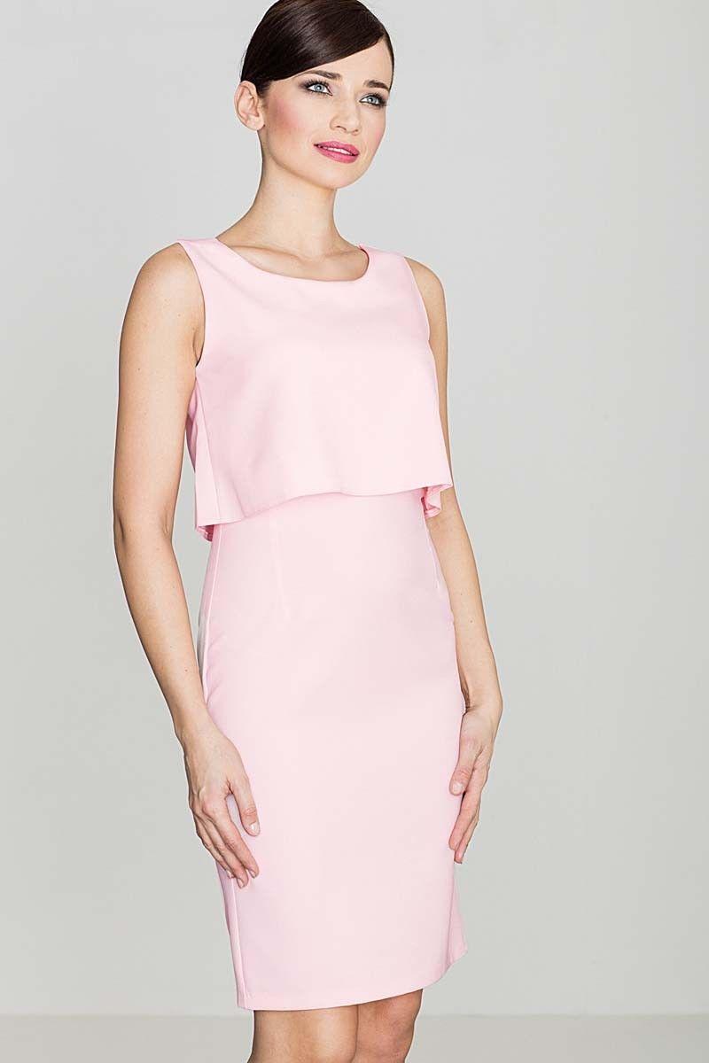 Elegancka różowa sukienka na szerokich ramiączkach
