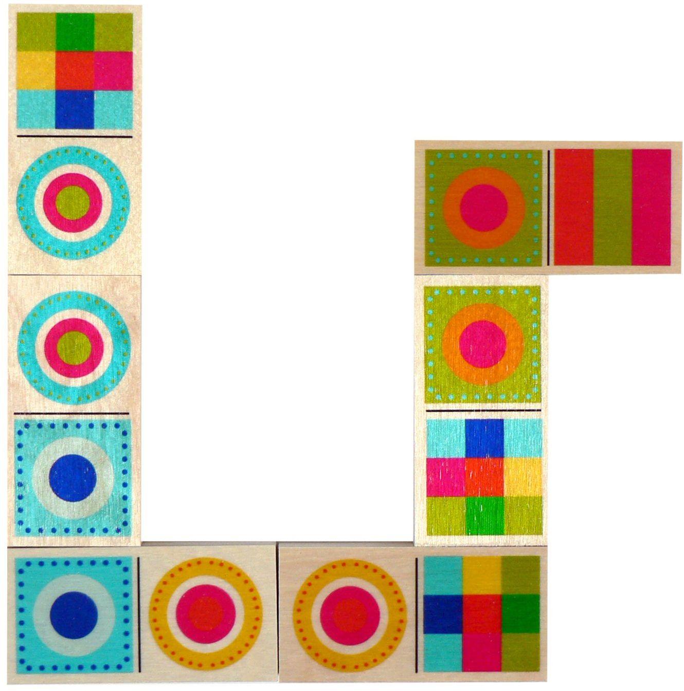 Hess drewniana zabawka 14922 - Domino z drewna, kolorowe kształty, 28 części