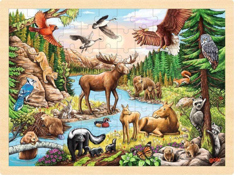 Puzzle drewniane Północnoamerykański krajobraz 57409-Goki, układanie przez dzieci