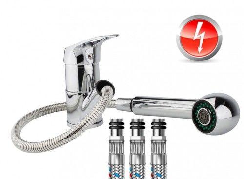 Jednouchwytowa bateria zlewozmywakowa jednouchwytowa bateria kuchenna wyciągana pod prysznic do bezciśnieniowych podgrzewaczy wody,CHROM