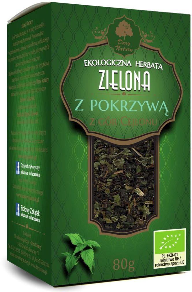 Herbata zielona z pokrzywą bio 80 g - dary natury