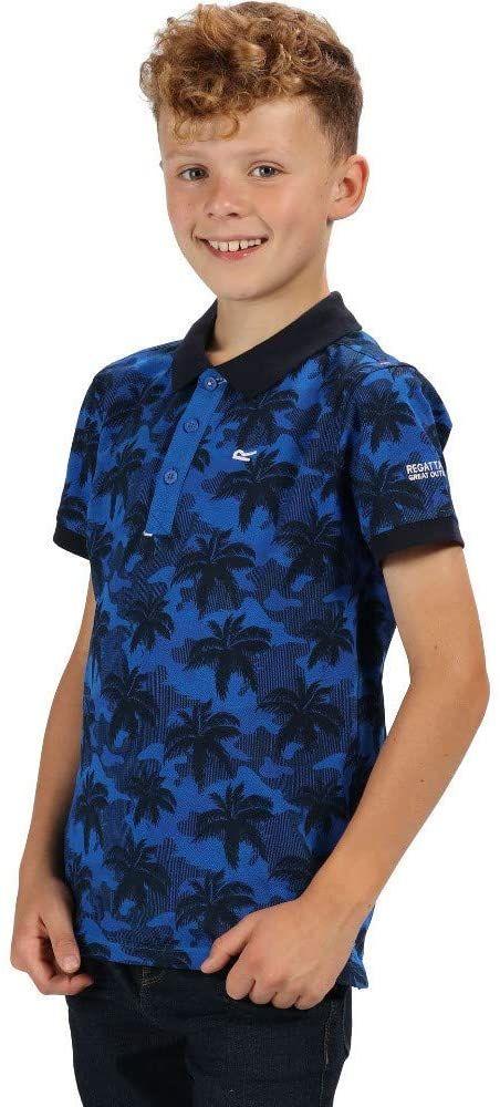 Regatta dziecięca Tobin Coolweave bawełniana koszulka polo na guziki Oxford Blue Camo Size 11-12