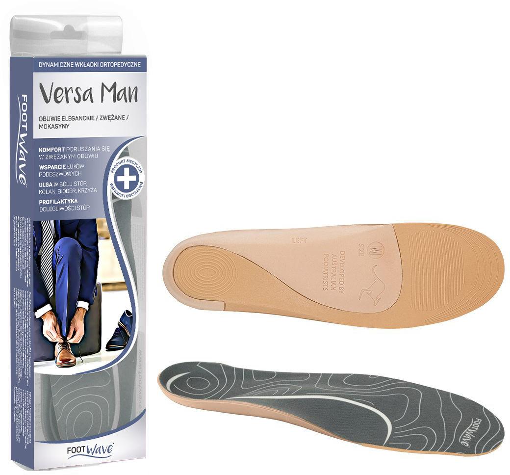 Dynamiczne wkładki ortopedyczne dla mężczyzn do każdego rodzaju obuwia - cienka formuła - Footwave (Versa Man)
