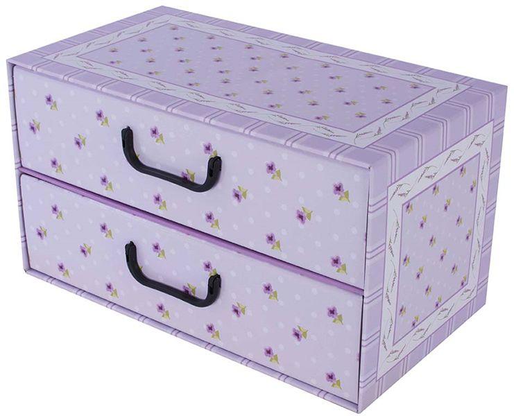 Pudełko kartonowe 2 szuflady poziome PROWANSALSKIE FIOLETOWE