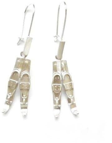 Kolczyki srebrne - Narty małe białe