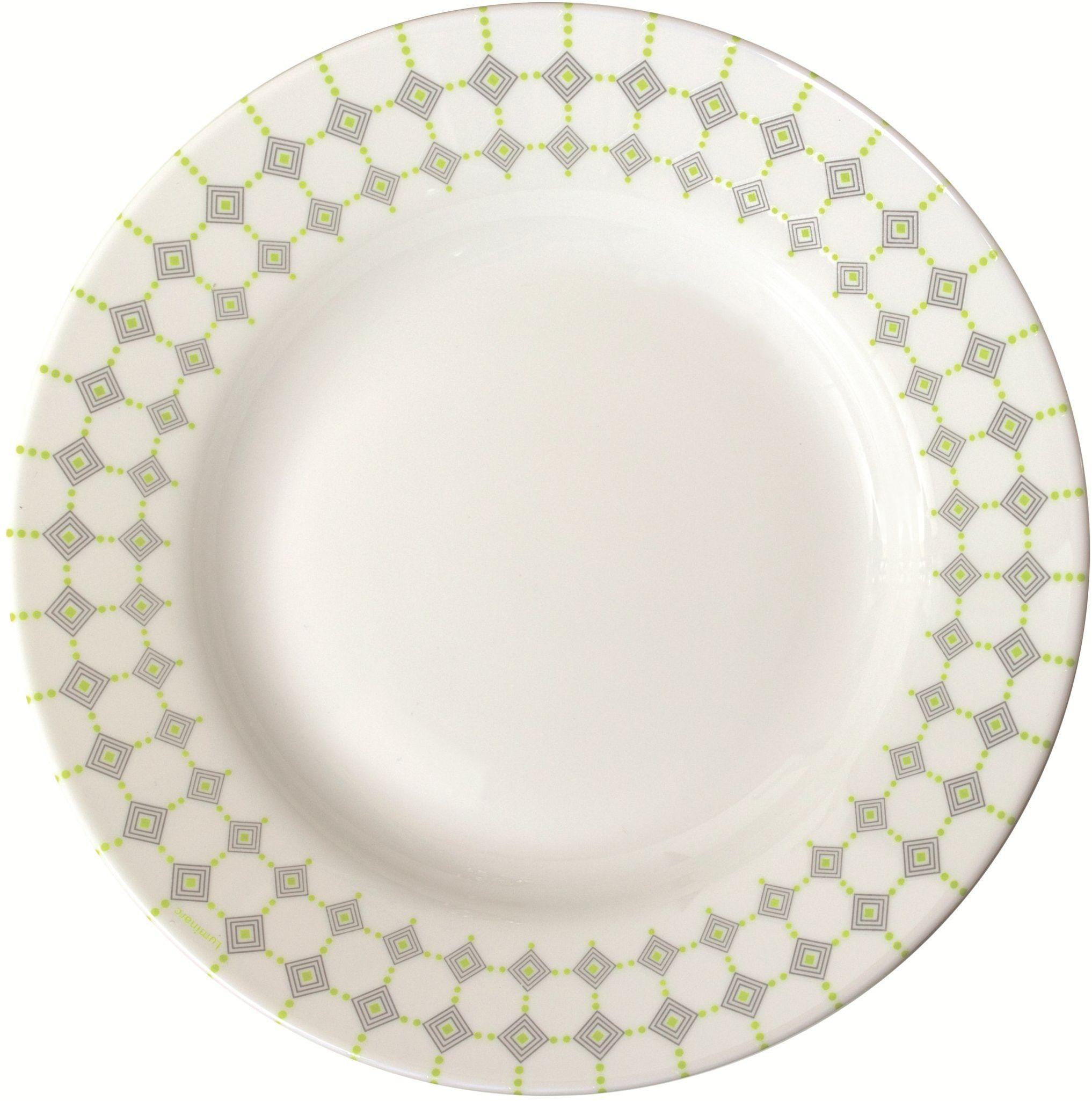 Dajar Talerz do zupy EDWIGE 22 cm, szkło, biały szary, 22 cm