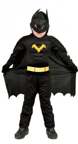 Kostium dla chłopca Człowiek Nietoperz, czarny z muskułami