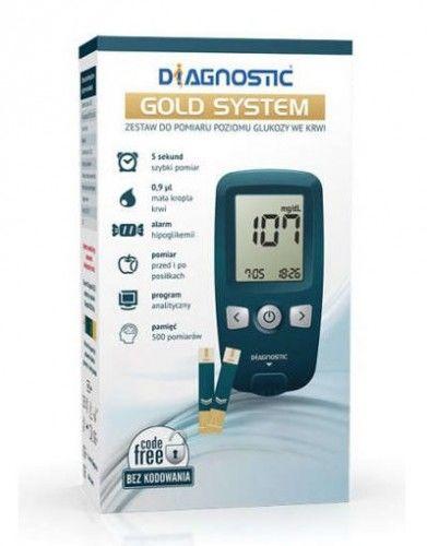 Diagnostic glukometr GOLD SYSTEM - zestaw do pomiaru poziomu glukozy we krwi