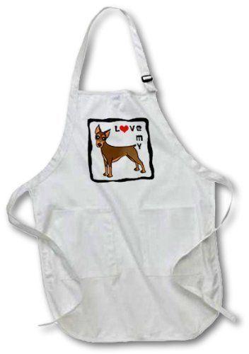 3dRose ''I Love My Doberman'' pinczer pies fartuch, biały, 61 x 76 cm