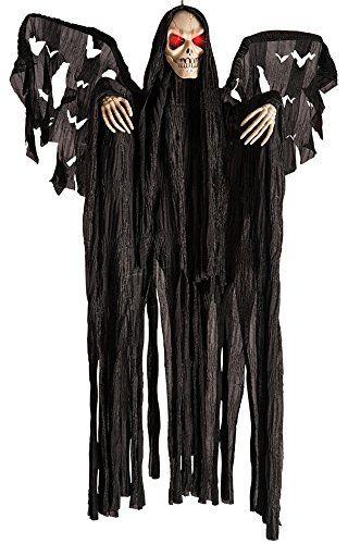 Carnival Toys 8990  Wiszący szkielet ze świecącymi oczami dźwiękiem i ruchem, zabawa, bateria nie wchodzi w zakres dostawy, 60 cm