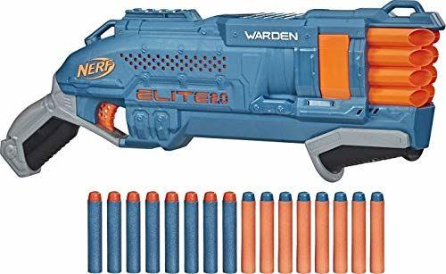 Nerf E9959F03 Elite 2 Warden DB-8 Blaster, 16 rzutek Nerf do jednoczesnego wypalania, 2 rzutki taktyczne do dopasowania, szybkiego strzelania