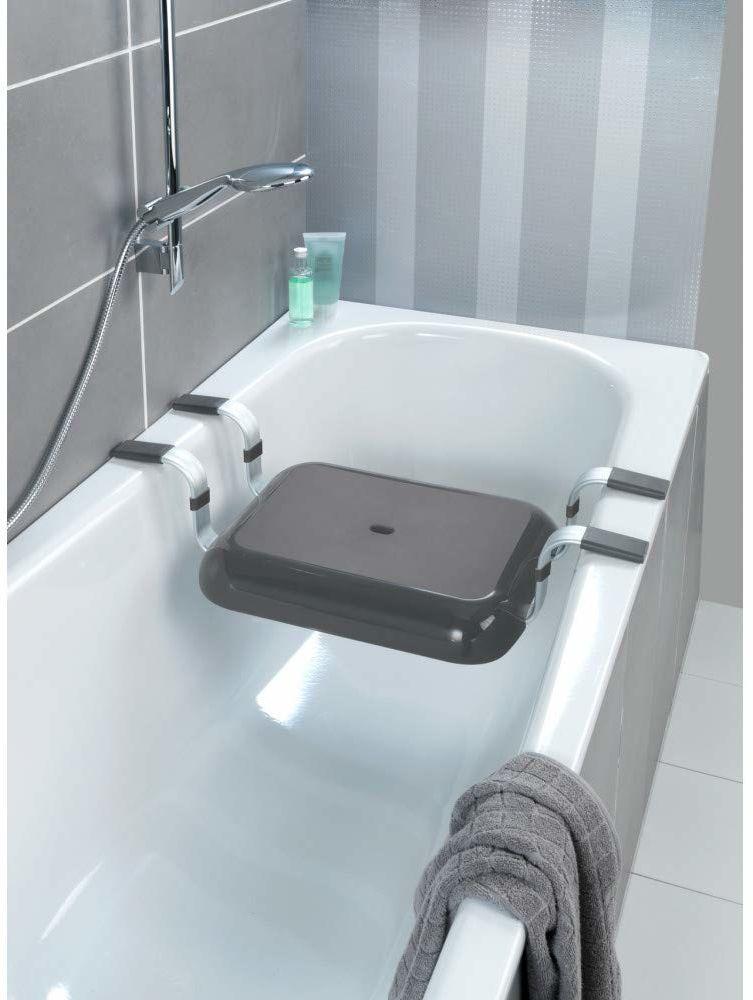 WENKO Secura Premium siedzisko do wanny, udźwig 150 kg, polipropylen, 74 x 15,5 x 36 cm, antracyt