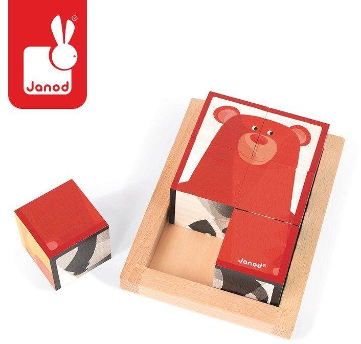 Janod Klocki drewniane 6 elementów puzzle Baby Forest