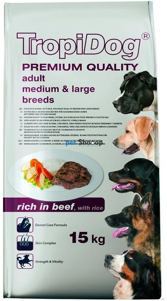TROPIDOG Premium Adult medium & large breed wołowina z ryżem 12kg
