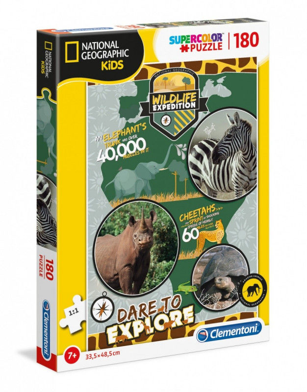 Puzzle 180 elementów National Kids Wildlife Expedition