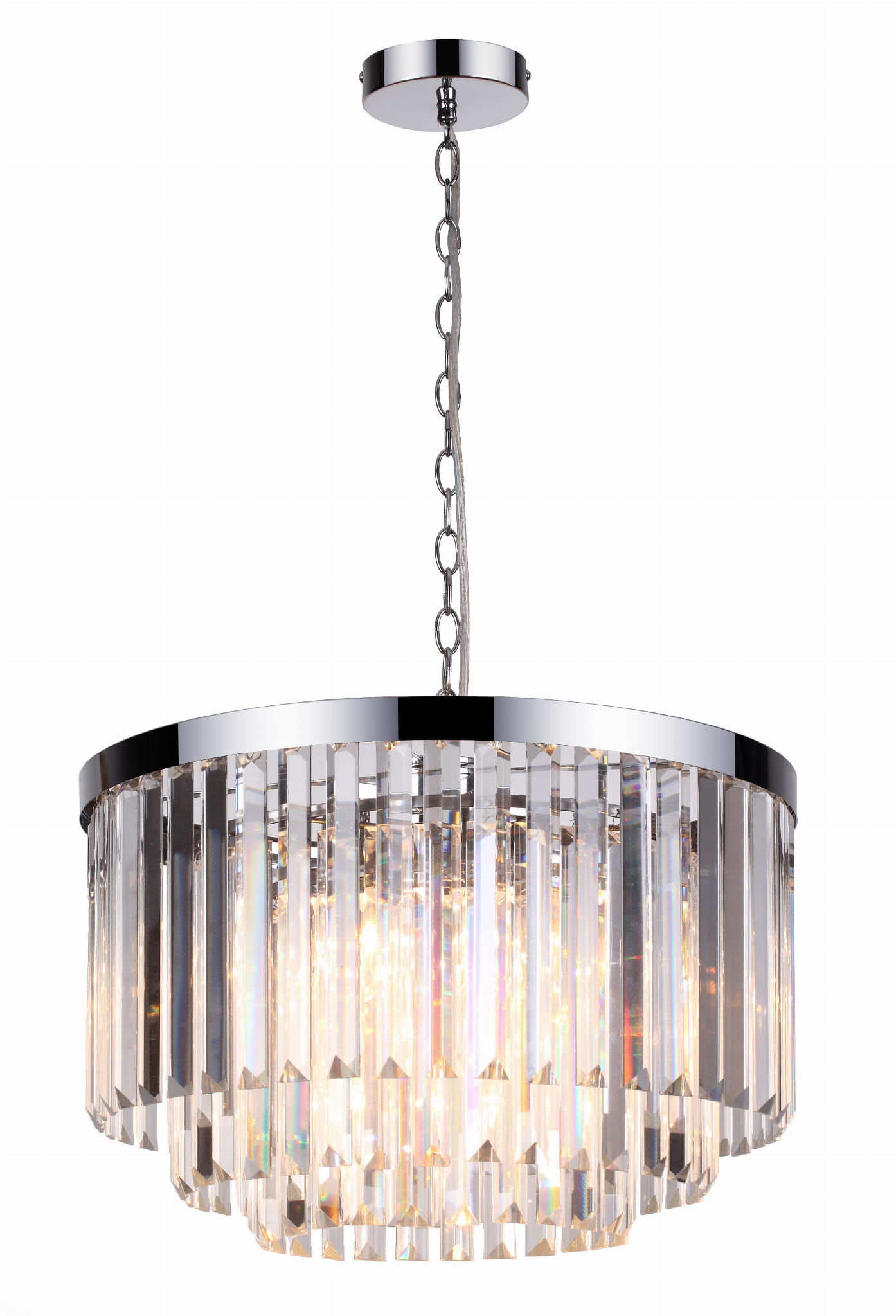 Light Prestige Vetro LP-2910/5P lampa wisząca metalowa klosz szklany transparentny kryształy 5xE14 45 cm